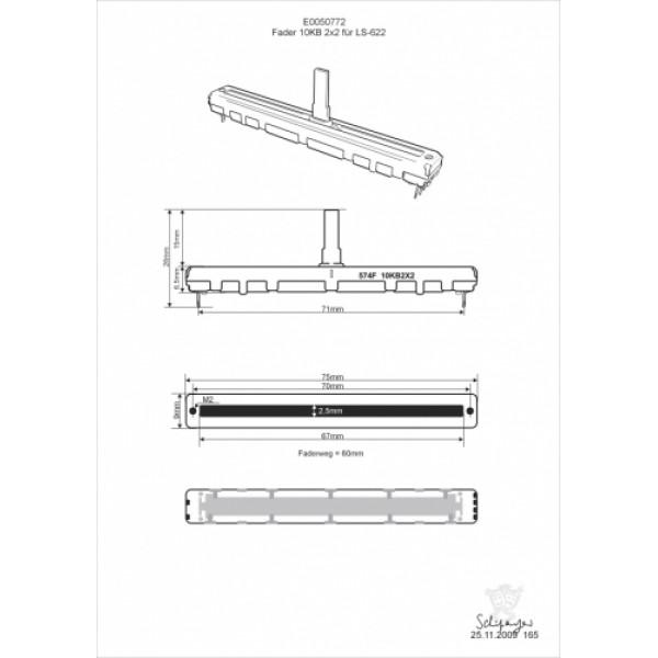 Фейдер для микшерного пульта  Omnitronic Fader 10 KBx2 60mm